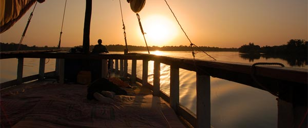 The sunset over the Gambian River after a long day on the water.