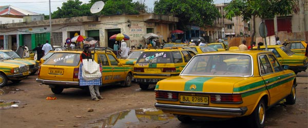 A taxi stand in the Gambia.