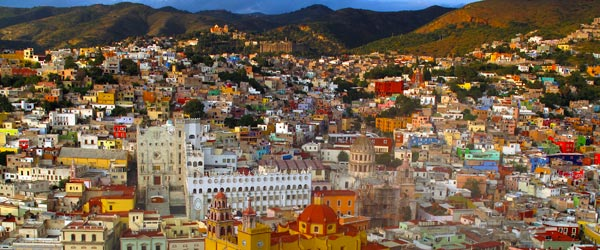 An aerial view of the colorful hillside city of Guanajuato.