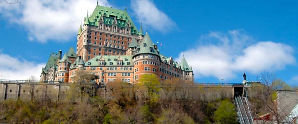 Le Chateau Frontenac is a luxury hotel operated by Fairmont in the center of Quebec's Old Town.