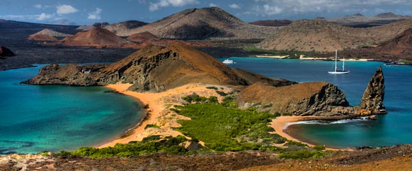 The rugged scenery of the Galapagos Islands hosts a diverse array of fauna.
