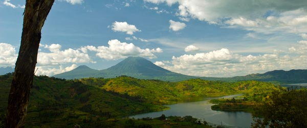 The volcanic landscape of Rwanda is a beautiful sight.