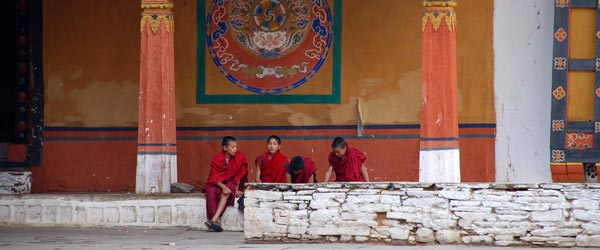 Young monks in training at the Paro Dzong. Photo credit Kim Campbell.