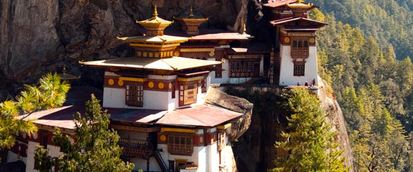 Stunning sights like the Tiger's Nest Temple await travelers in Bhutan.