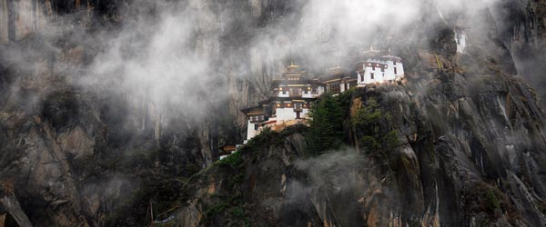 The Tiger's Nest Temple shrouded in clouds. Photo credit Kim Campbell.
