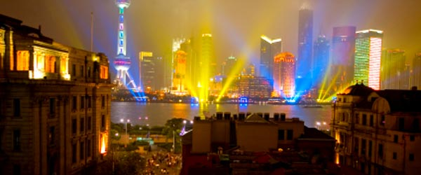 View of the modern Pudong from the historic district of the Bund.