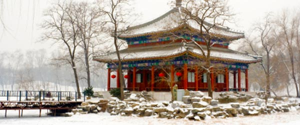 The Summer Palace in the winter and covered in snow.