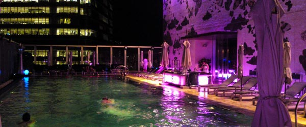 A night shot of the very cool pool on the W's 77th-floor rooftop.