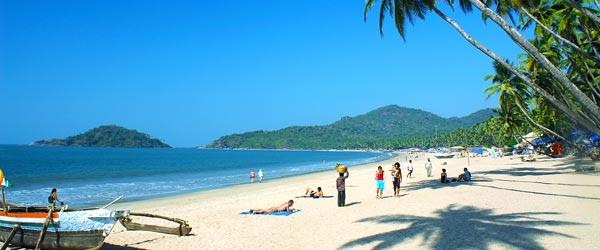Tourists flock to Goa year-round for its white sand beaches.