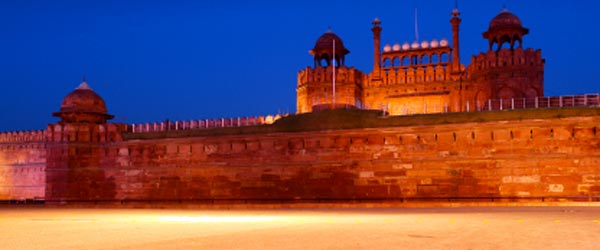 The massive Red Fort towers over the neighborhood of Old Delhi.