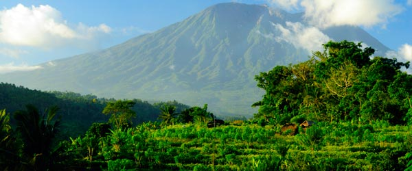 The Gunung Agung Volcano is the highest peak on Bali at over 10,000 ft.