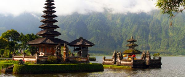 The Ulun Danau Temple on Lake Batur in Bali.