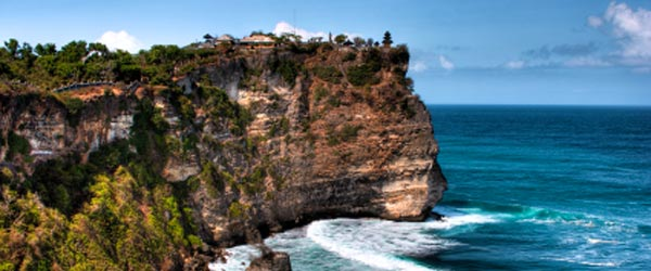 The Pura Luhur Uluwatu Temple is on a cliff 250 ft above the sea.
