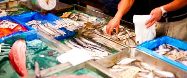 Tsukiji is Tokyo's largest fish market and very active in the mornings.