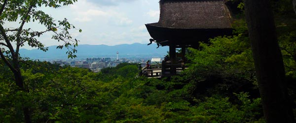 Kiyomizu-dera stands on wooden pillars high above the forest.