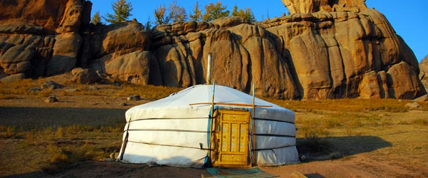 A ger – accommodation of choice for fashionable nomads – in the Mongolian wilderness.