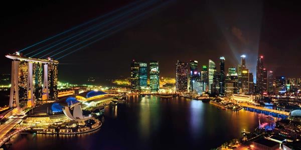 The Marina Bay Sands has a privileged location and a nightly light show.