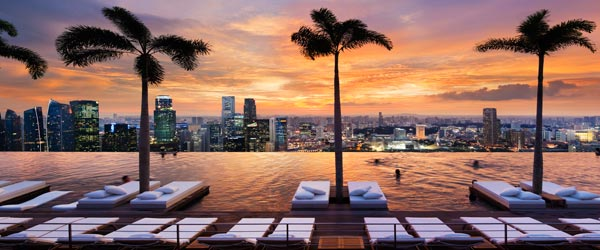 The SkyPark has a rooftop infinity pool that is over 150 meters long!
