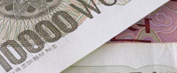 The South Korean Won is traditionally valued around 1,100 to one US Dollar.