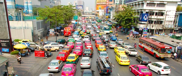 Gridlock is a common sight on Bangkok's many roads and freeways.