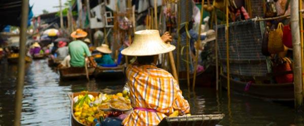 The Damnoan Saduak Floating Market is located just outside of Bangkok.