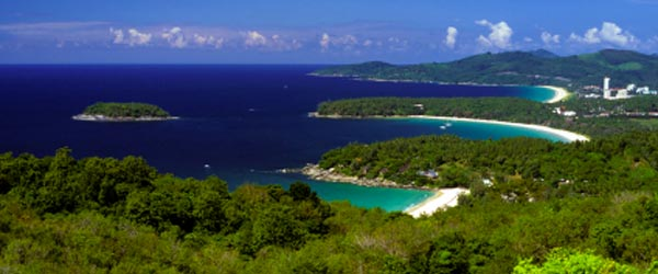 An aerial view of Kata Beach and beautiful nearby bays.