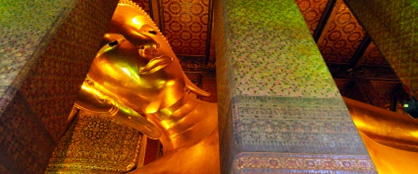The reclining Buddha at Wat Pho is 150 ft long and 50 ft high!