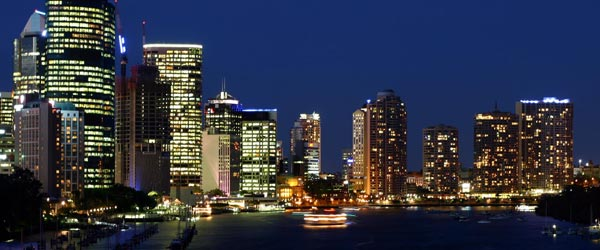 The skyline of downtown Brisbane.