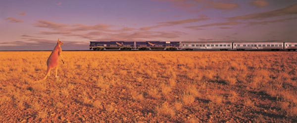 The Indian Pacific Railway cuts a path across the great Australian outback and connects Perth with Sydney.