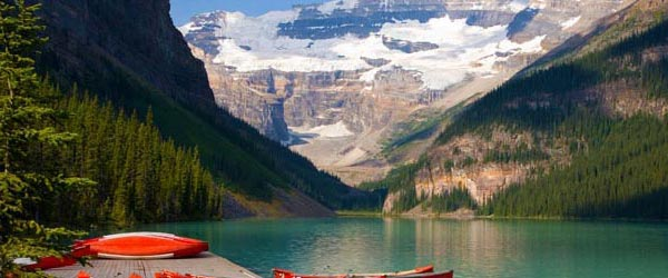 Canoes docked at Lake Louise in the Banff National Park.