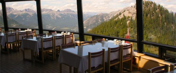 The restaurant inside the gondola station at the summit of Sulphur Mountain. Photo credit Tony Hisgett.