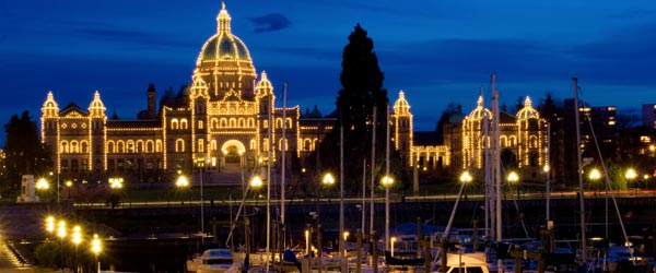 The Provincial Legislature of B.C. is located on the Inner Harbour.