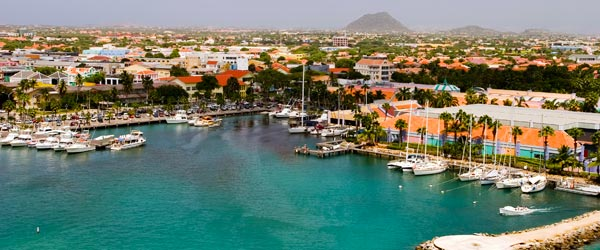 The harbor of Aruba's capital city, Oranjestad.