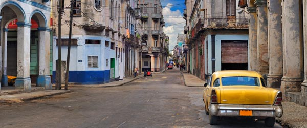 A classic American car on the streets of central Havana.
