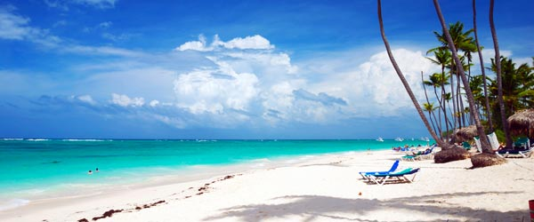 Imagine relaxing on this beautiful white sand beach in Punta Cana...