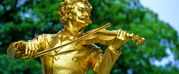 Golden statue of Johann Strauss, the inventor of the Waltz.