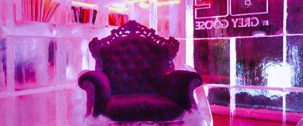Rest your feet and freeze your toes at the Ice Kube Bar in the Kube Hotel.