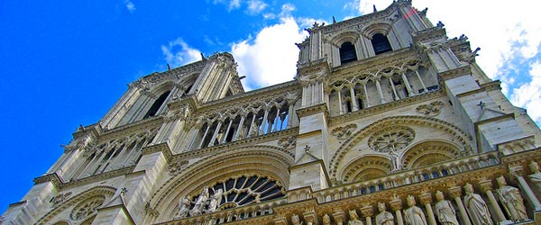 The majestic Notre Dame Cathedral and its French Gothic architecture.