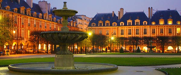 Place des Vosges in the trendy area of Le Marais.
