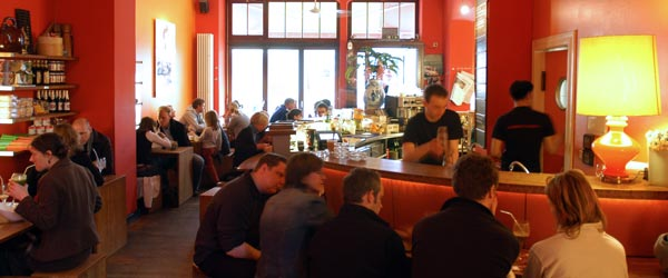 The perennially packed interior of the Monsieur Voung Vietnamese restaurant.