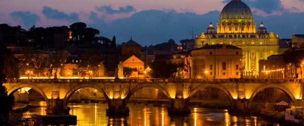 The Vatican's St Peter's Basilica as seen from the Tiber River.