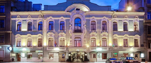 The grand exterior of the Helvetia Hotel in Saint Petersburg.