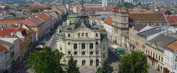 A view of the Kosice Old Town and State Theater. Photo credit: Maros