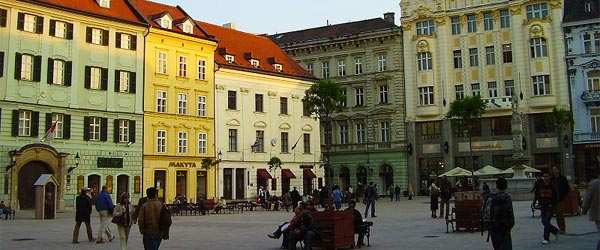 Hlavne Namestie, the main square of Bratislava's Old Town.