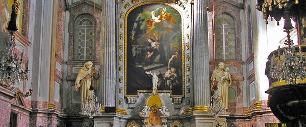 The interior of the Church of Saint Elizabeth.