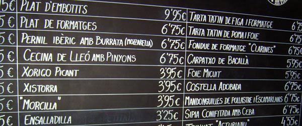 A portion of Celler Cal Marino's extensive menu.