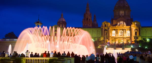 The choreographed fountains in front of the Palau Nacional.
