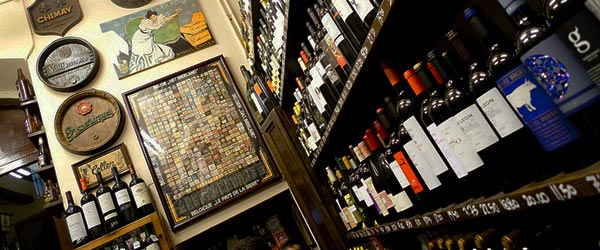 The extensive wine collection at Quimet i Quimet.