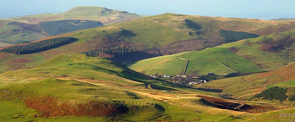 The hilly countryside of the Cheviots near the national park.