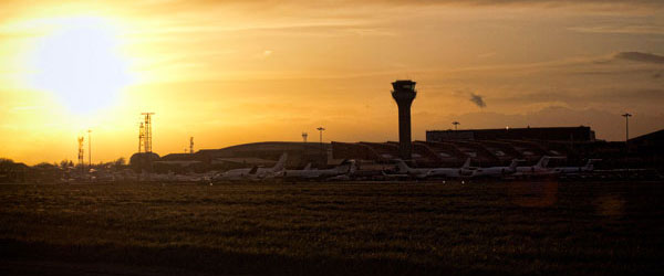 A sunset over Luton Airport north of London.
